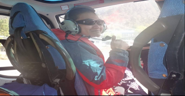 Happy clients enjoying with Helicopter flight