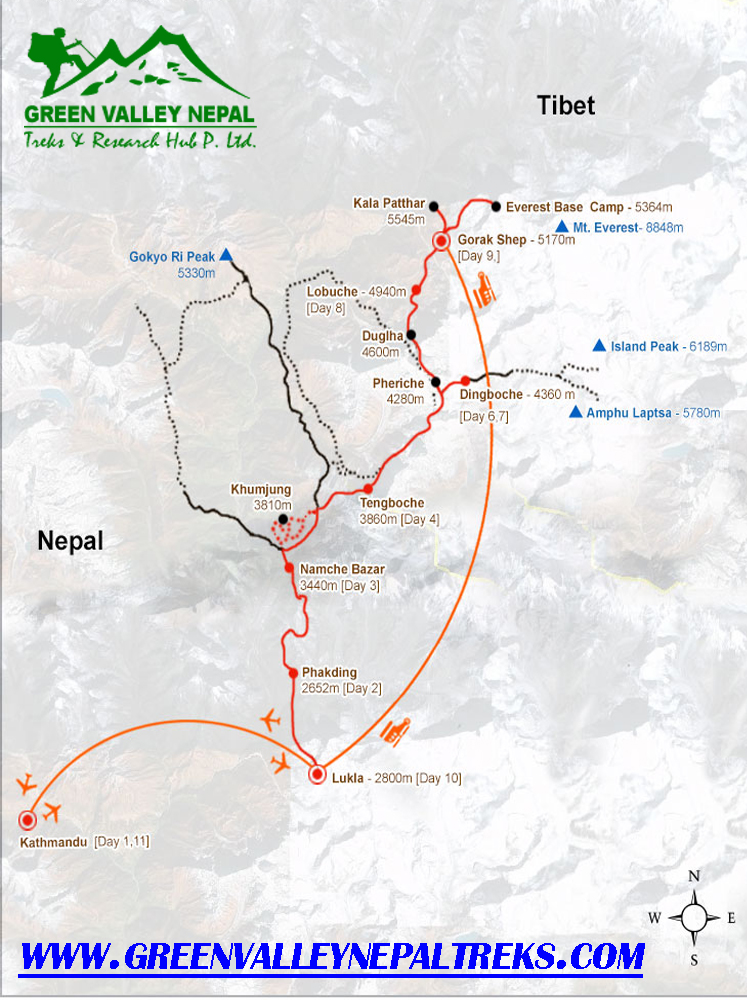 Everest Base Camp Trek Fly back by Helicopter Trip Map